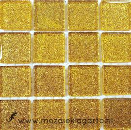 Glitter 2x2 cm per 16 tegels Geelgoud 014