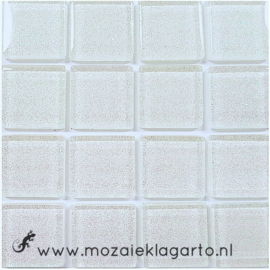 Glitter 2x2 cm per 16 tegels Wit 011