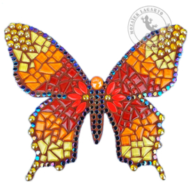 Mozaiekpakket 53 Vlinder Farfalla Rood/Oranje/Geel