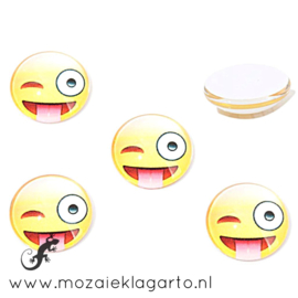 Cabochon/Plaksteen Glas 16 mm per 2 Smile Knipoog 31400