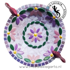 Mozaiekpakket 37 Vogelbadje Flora Paars/Roze