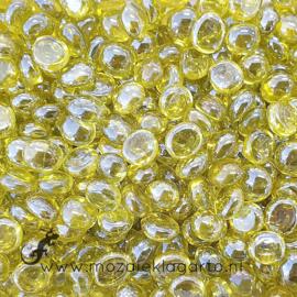 Glas Nugget Mini 9-13 mm Transparant Iriserend 50 gram Geel 4367
