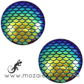 Decoratiesteen kunststof Holografisch 12 mm per 5 Blauw/Groen 58605