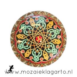 Cabochon/Plaksteen Glas 30 mm Mandala Bruin-Geel-Zeegroen 5009