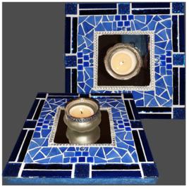 Mozaiek Spiegel/Waxinehouder Blauw 029