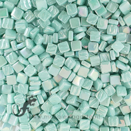Mozaiek tegeltjes glas 8 x 8 mm Parelmoer per 50 gram Licht Zeegroen 013P