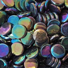 Glastegel Rond 18 mm Parelmoer  per 50 gram Zwart 049P