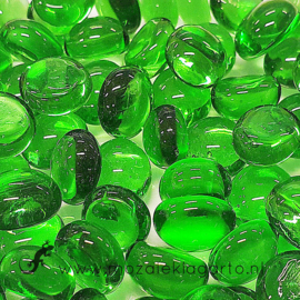 Glas Nugget Mini 9-13 mmTransparant 50 gram Groen 4396
