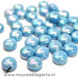 Glasdruppel Rond 12 mm per 50 gram Parelmoer Aqua 063P