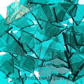 Gekleurde glasscherven Transparant  Zeegroen W96-18t