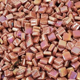 Mozaiek tegeltjes glas 8 x 8 mm Parelmoer per 50 gram Kastanjebruin 096