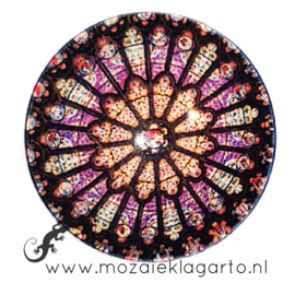 Cabochon/Plaksteen Glas 30 mm Mandala Multicolor  23216