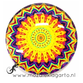 Cabochon/Plaksteen Glas 30 mm Mandala Geel - Blauw - rood 40218