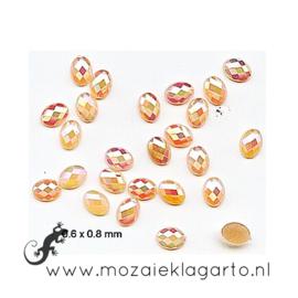 Glas facet geslepen ovaal mini  0.6x0.8 mm per ca 35 Champagne 002