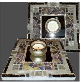 Mozaiek Spiegel/Waxinehouder Grijs 004