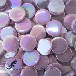 Glastegel Rond 18 mm Parelmoer per 50 gram Lila 053P