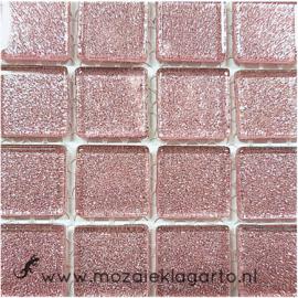 Glitter 2x2 cm per 16 tegels Lichtroze 031
