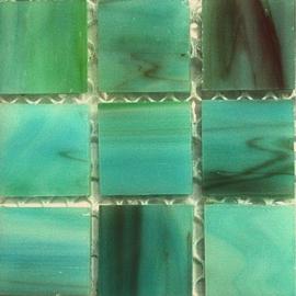 Tiffany glastegels 2x2 cm per 25 Groen/Zeegroen 070