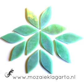 Bloemblaadjes Tiffanyglas 15x38x3 mm per 12 Pistachegroen Iriserend 018-1