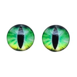 Cabochon/Plaksteen Oogjes 12 mm per 2 Geel/Groen 322-12