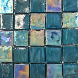 Glastegels 15 mm  Zeegroen Opaal per 25 tegels 130-15