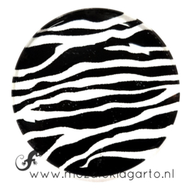 Cabochon/Plaksteen Glas 30 mm Zebra Zwart - Wit 22013