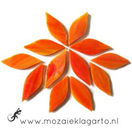 Bloemblaadjes Tiffanyglas 15x38x3 mm per 12 Oranje/Geel 071-1