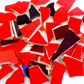 Mozaïek tegelscherven voor BINNEN per 750 gram Rode mix