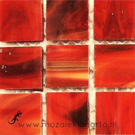 Tiffany glastegels 2x2 cm per 25 Rood gevlamd 115