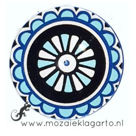 Cabochon/Plaksteen Glas 30 mm Mandala Aqual - Wit - Zwart  23218