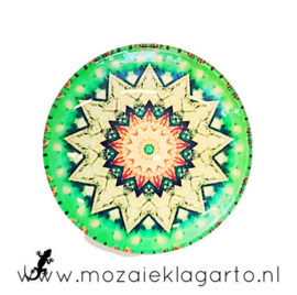 Cabochon/Plaksteen Glas 30 mm Mandala Groen-Geel 5010