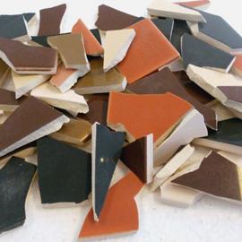 Mozaïek tegelscherven voor BINNEN per 750 gram Bruine mix