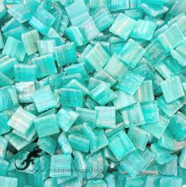 Mozaïek glastegeltjes 1 x 1 cm Goudader per 50 gram Licht Zeegroen 065