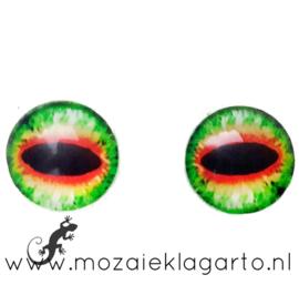 Cabochon/Plaksteen Oogjes per 2 Groen/Geel/Rood 303-15