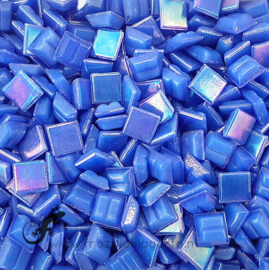 Mozaiek glastegeltjes 1 x 1 cm Parelmoer Saffier blauw 017