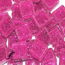 Glasmozaiek glitter 1 x 1 cm per 50 gram Fuchsia 91-10