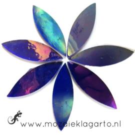Bloemblaadjes Tiffanyglas 16x50x3 mm per 7 Indigo Iriserend 025-2