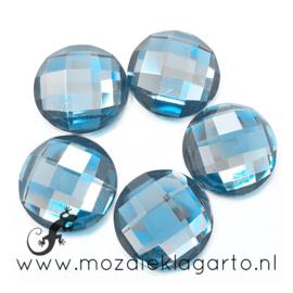 Decoratiesteen kunststof  Facet 15 mm per 5 Lichtblauw 35991