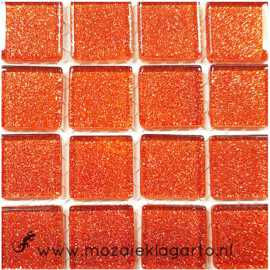 Glitter 2x2 cm per 16 tegels Oranje  007