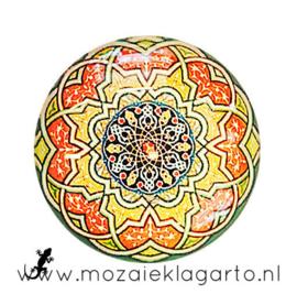 Cabochon/Plaksteen Glas 30 mm Mandala  Oranje-Geel 5006