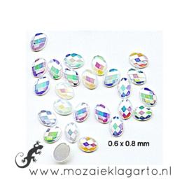 Glas facet geslepen ovaal mini  0.6x0.8 mm per ca 35 Wit 007