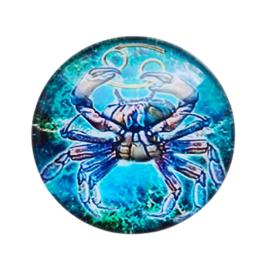 Cabochon/Plaksteen Glas 25 mm Horoscoop Kreeft 1118