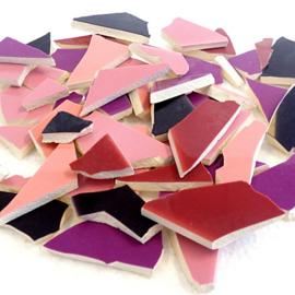 Mozaïek tegelscherven voor BINNEN per 750 gram Roze/Paarse mix