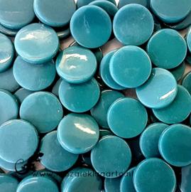 Glastegel Rond 18 mm per 50 gram Donker Zeegroen 016