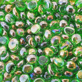Glas Nugget Mini 9-13 mm Transparant Iriserend 50 gram Groen 4397