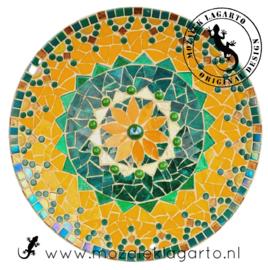 Mozaiekpakket 1 Schaal Flower Geel/Groen/Goud