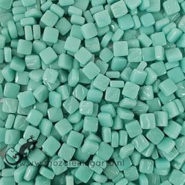Mozaïek tegeltjes glas 8 x 8 mm Opaal per 50 gram Licht Zeegroen 013