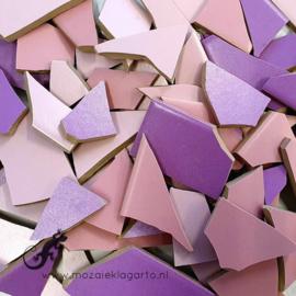 Mozaiek tegel scherven voor BINNEN EN BUITEN 1 kilo Paars/Roze Mix 007