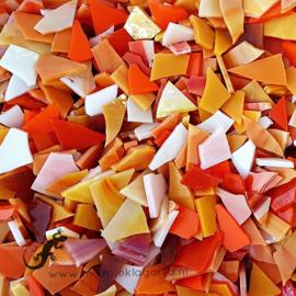 Gekleurde glasscherven 200 gram  Oranje Mix 007