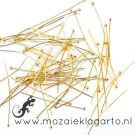 Kettelstiften metaal  Goudkleur met bolletje 40 mm per 10 gram